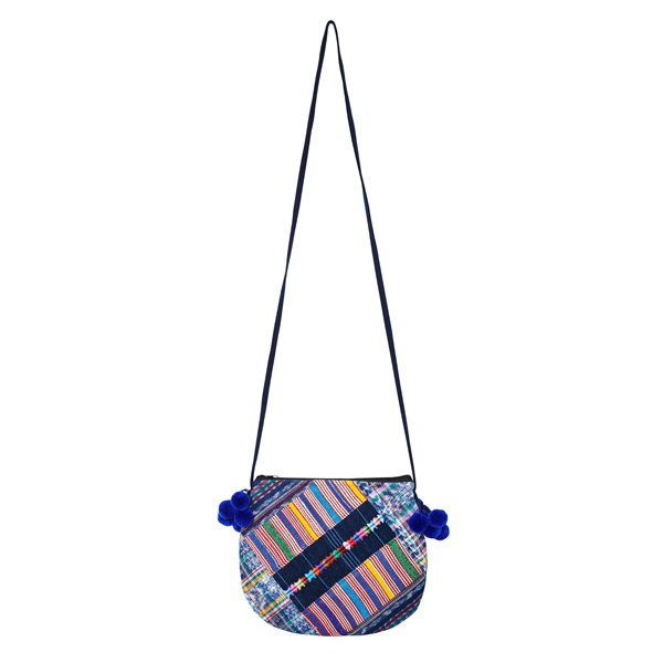 POMPOM CROSSBODY BAG | Blue Tassels | marysal-shop.com