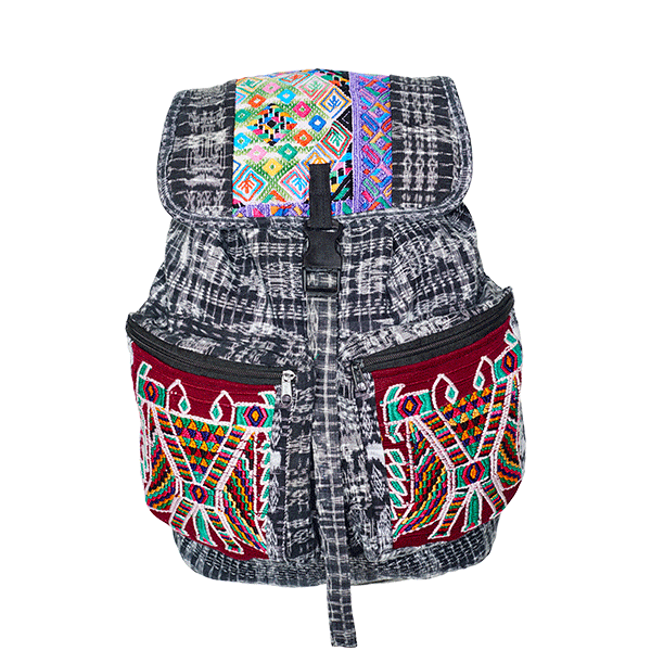 Ethno Style Backpack | Black White Patchwork | MARYSAL