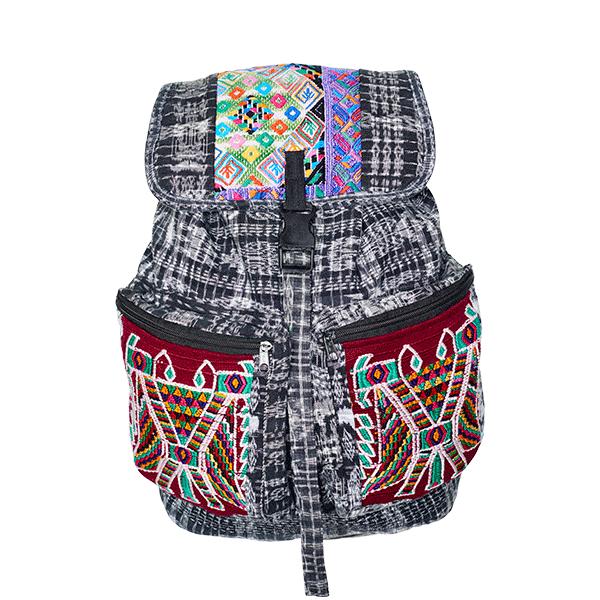 Ethno Style Backpack | Black White Patchwork | MARYSAL