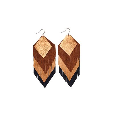 MARYSAL Earrings Leather Feather black brown