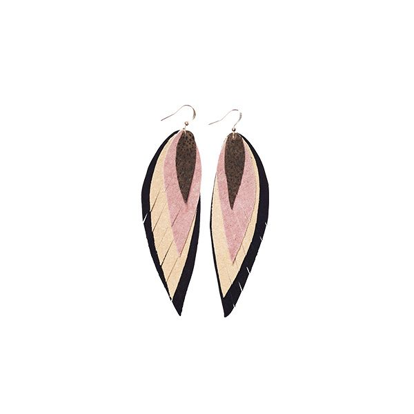MARYSAL Earrings Leather Feather black rose