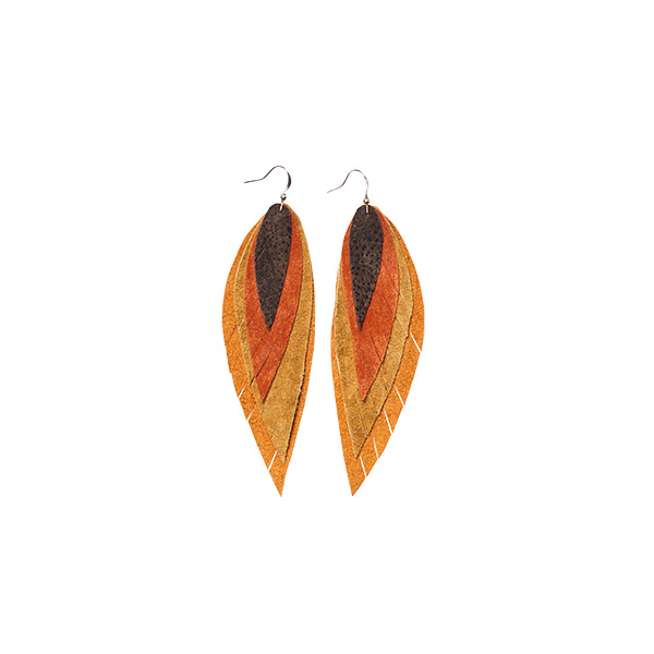 MARYSAL Earrings Leather Feather