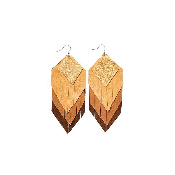 MARYSAL Earrings Leather Fringes beige