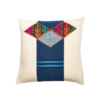 Marysal Ethno Pillow White Canvas Aztec Print