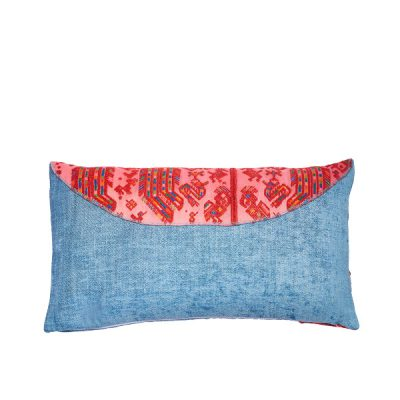 Marysal Couch Pillow Blue Azur Petrol Chenille Vintage Pink Huipil