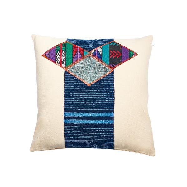 Marysal Ethno Pillow White Canvas Aztec Print
