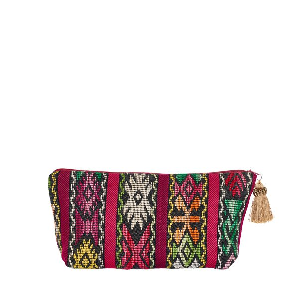 Marysal_Cosmetic Bag_Pompoms_Ikat_red