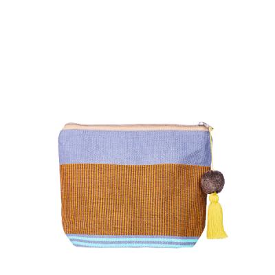 Pom Pom Cosmetic Bag | Bag in Bag | Clutchbag | Mustard Beige