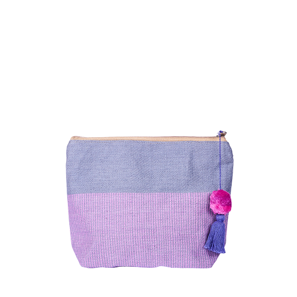 Pom Pom Cosmetic Bag | Bag in Bag | Clutchbag | Lavender Taupe