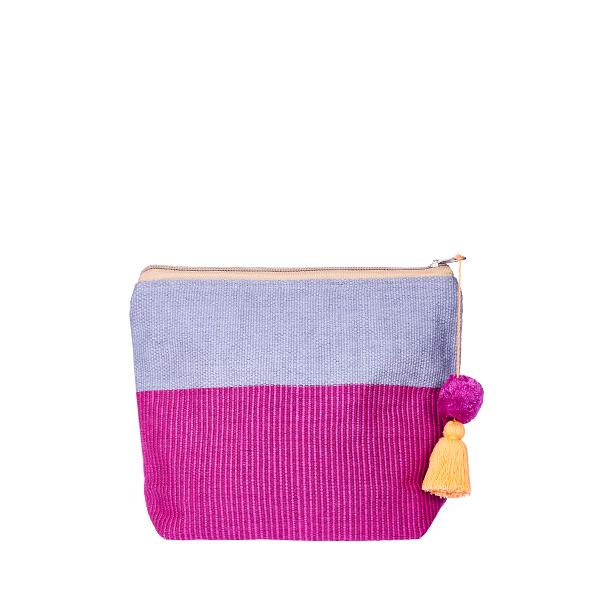 Pom Pom Cosmetic Bag   Bag in Bag   Clutchbag   Burgundy Pink