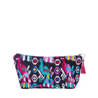boho pouch pompom cosmetic bag