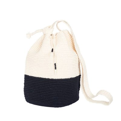 cCROCHET BUCKET BAG | COTTON BAG | Black and White | Color Block