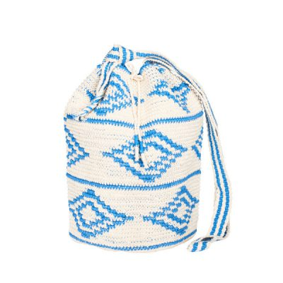 CROCHET BUCKET BAG | COTTON BAG | Azur Blue | Ikat pattern