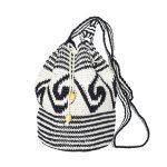 CROCHET BUCKET BAG   COTTON BAG   Black White   Wave pattern