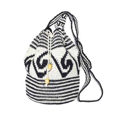 CROCHET BUCKET BAG | COTTON BAG | Black White | Wave pattern