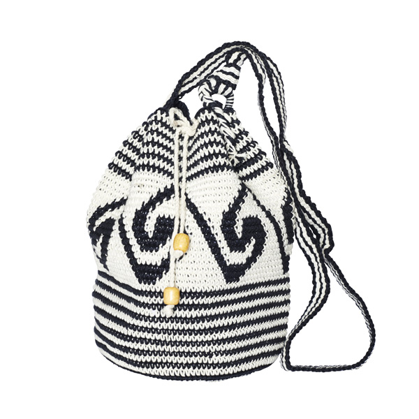 CROCHET BUCKET BAG | COTTON BAG | Black White | Wave pattern