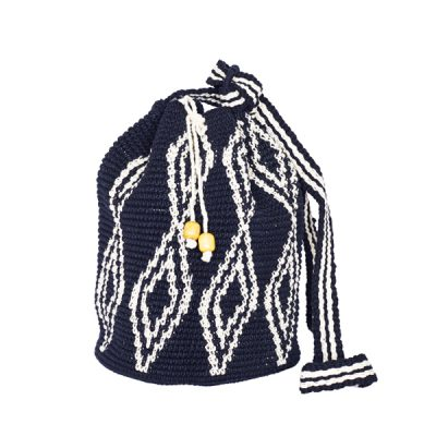 CROCHET BUCKET BAG | CROCHET BAG | Black and White | Ikat pattern