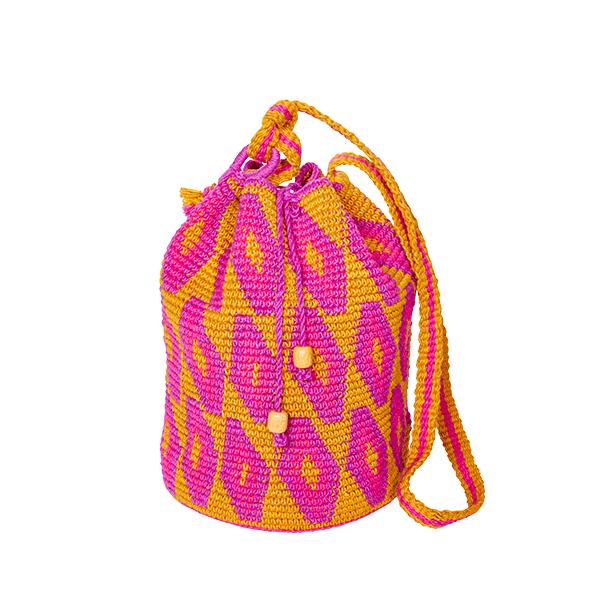 CROCHET BUCKET BAG | CROCHET BAG | MOCHILA | pink | Ikat
