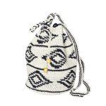 CROCHET BUCKET BAG   COTTON BAG   Black White   Ikat pattern