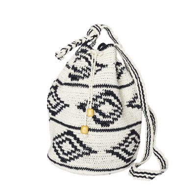 CROCHET BUCKET BAG | COTTON BAG | Black White | Ikat pattern
