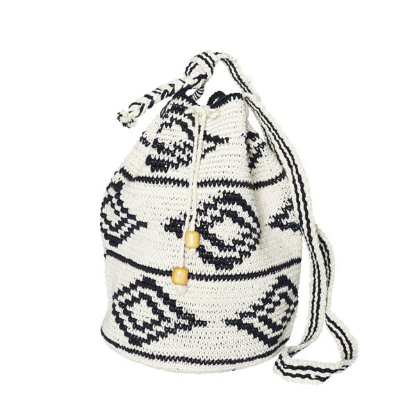 CROCHET BUCKET BAG | COTTON BAG | Black White | Ikat pattern