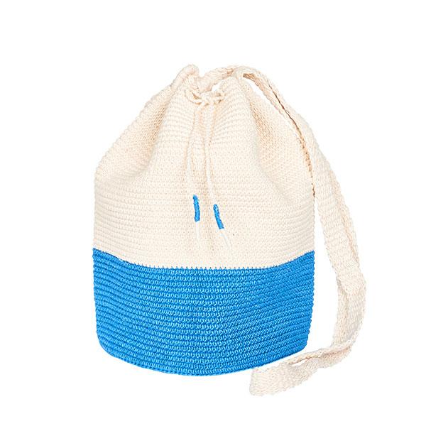 CROCHET BUCKET BAG | COTTON BAG | Azur Blue | Color Block