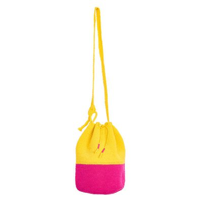 CROCHET BUCKET BAG | CROCHET BAG | MOCHILA | pink | yellow | colorblock