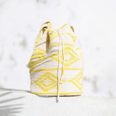 Baumwolltasche gelb weiss