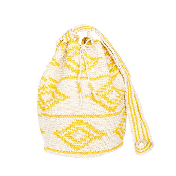 Cotton crochet bag yellow white kat pattern
