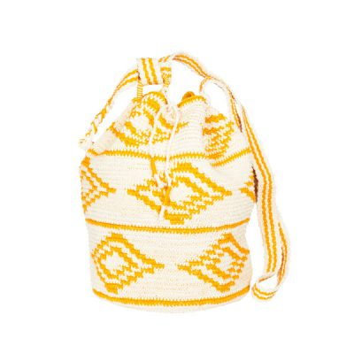 CROCHET BUCKET BAG | COTTON BAG | Mustard Yellow | Ikat pattern