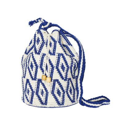 CROCHET BUCKET BAG | CROCHET BAG | Blue and White | Ikat pattern