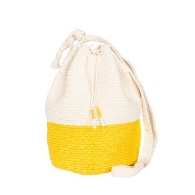CROCHET BUCKET BAG | COTTON BAG | Yellow | Color Block