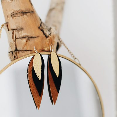 earrings leather feather brown and gold