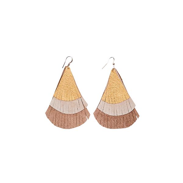 earrings leather fringes brown earthones