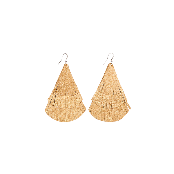earrings leather fringes gold