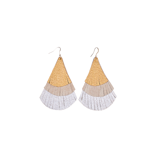 earrings leather fringes silver