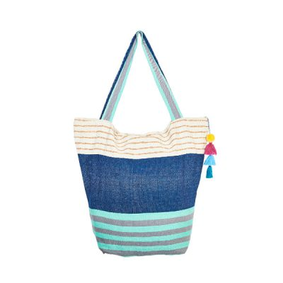 Cotton bag beach bag pompom turquoise and blue