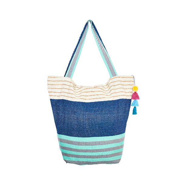 Cotton bag beach bag pompom turquoise and blue