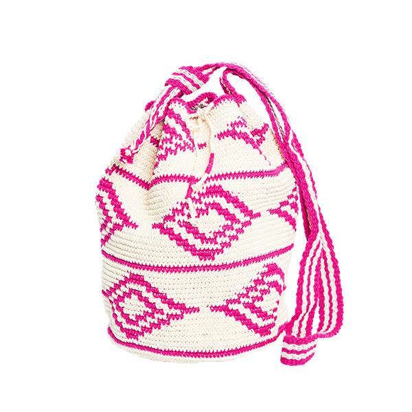 Baumwolltasche Haekeltasche Diamant pink