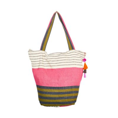 Cotton bag beach bag pompom pink