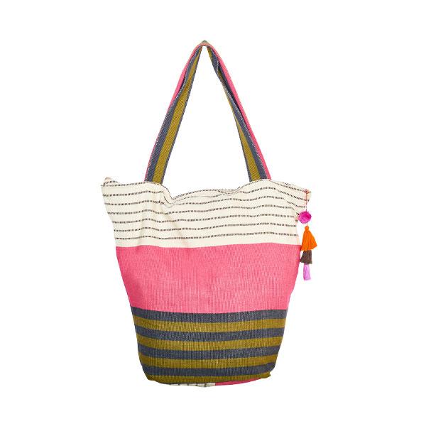 Cotton bag beach bag pompom pink