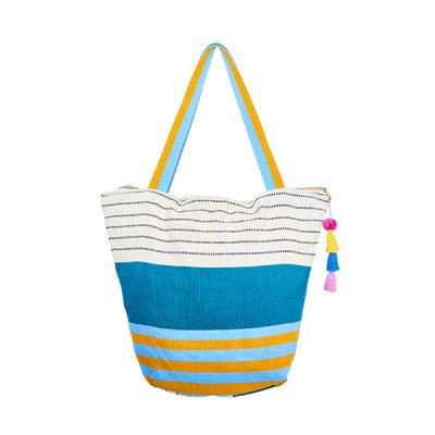Cotton bag beach bag pompom petrol