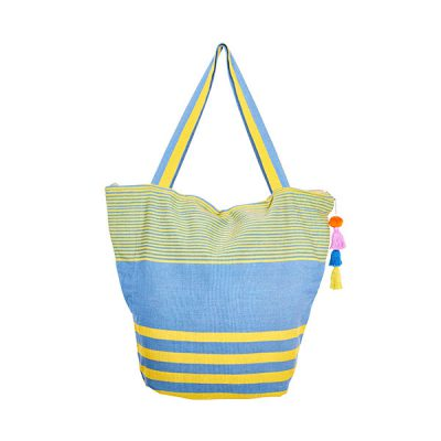 Cotton bag beach bag pompom yellow and blue